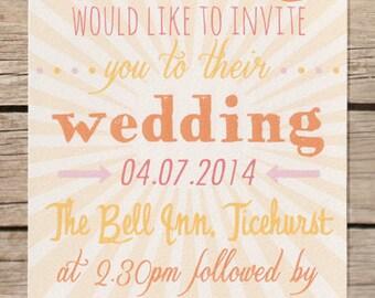 Colourful abstract, carnival wedding invitation. Typography wedding invitation