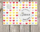 Colourful Hearts Save the Date Magnets with Custom Dog, Dog Magnets, Save the Date Cards, Personalised Wedding Stationery with Envelopes