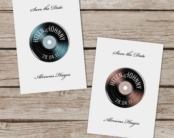 Vinyl design Save the Date Magnets, Vinyl record magnets, Save the date cards, Personalised wedding stationery with envelopes, Music themed