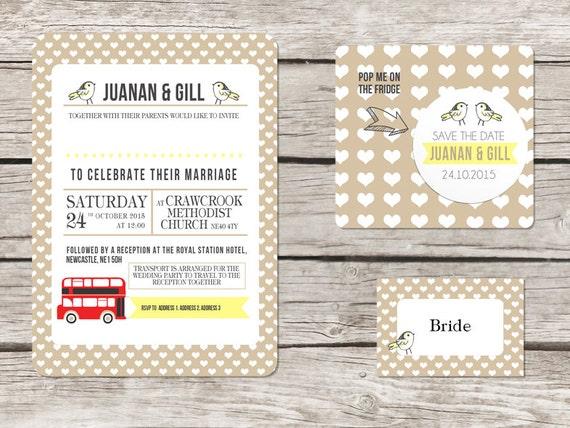 London Themed Wedding Invitation Red Bus Etsy
