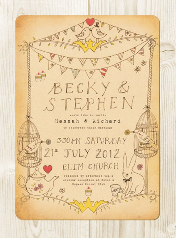 Alice In Wonderland Tea Party Themed Wedding Invitation