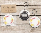 Bottle Opener Keyring Wedding Favours, Floral Design, Flower Wreath, Personalised Option Available, Rustic, Colourful, Unique