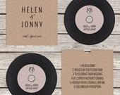 Rustic 'vinyl' record CD wedding invitation, personalised kraft sleeves, custom vintage music themed invitations, retro handmade music lover