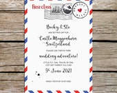 Travel theme wedding invitations, Air mail deisgn, Personalised invites with envelopes, Luxury card, Eco friendly, Destination wedding