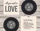 Retro 'vinyl' record CD wedding invitation, personalised CD record sleeves, custom vintage music themed invitations, handmade music lovers