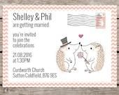 Hedgehog wedding invitations, Animal themed wedding stationery, Cute wedding invites, Woodland wedding, Personalised design