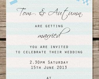 Nautical wedding invitation, sea side theme