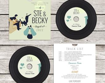 Retro Oasis Inspired CD 'Vinyl' Wedding Invitation, personalised CD record sleeves, custom vintage music themed invitations, handmade