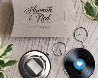 Custom vinyl keyring bottle opener wedding favour