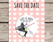 Unicorn Star Wars Save the Date Magnets, Whimsical Magnets, Personalised Save The Date Cards With Envelopes, Fun, Quirky, Different