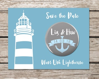 Lighthouse Save the Date Magnets, Anchor Magnet, Save the Date Card, Sea Themed Wedding Stationery, Luxury Cards, Blue and White