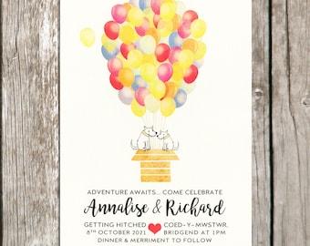 Colourful Balloon Wedding Invitation With Custom Pet, Dog / Cat Wedding Invitations, Quirky, Different Invites, Disney Wedding Theme, Fun