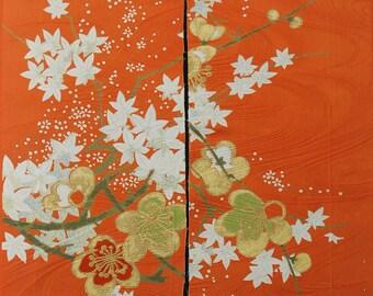 Ivory Upcycled Silk Tsunami Kanzashi Flower Hairclip Orange Shibori Summer Casual CLEARANCE Chirimen