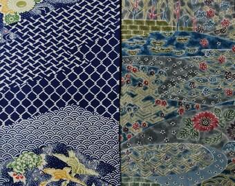 Vintage kimono silk fabric 2 pcs #7517