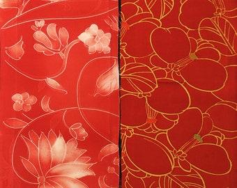 Vintage kimono silk fabric 2 pcs #7519
