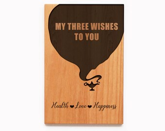 My Three Wishes To You Wood Card - Customized Love Card- Disney Card -Gift For Him- Gift for Her-Engraved Wood -Real Wood Card - Genie Card