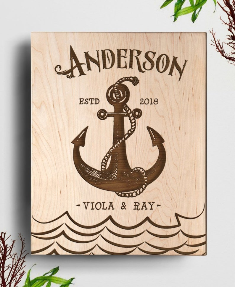 Housewarming Gift Husband Gift Personalized Cheese Board Anchor Cutting Board Wedding Gift Christmas Gift Nautical Gift Closing Gift
