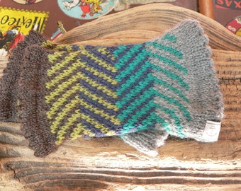 Pulse warmer out of wool, with heringbone pattern, arm warmer, hand warmer