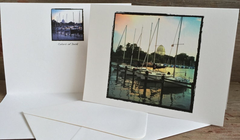 Wilmette Greeting Cards Blank Photo Cards  Set of 4 Gillson Beach Cards Wilmette Harbor Sunset Card Wilmette SummerWinter Photography