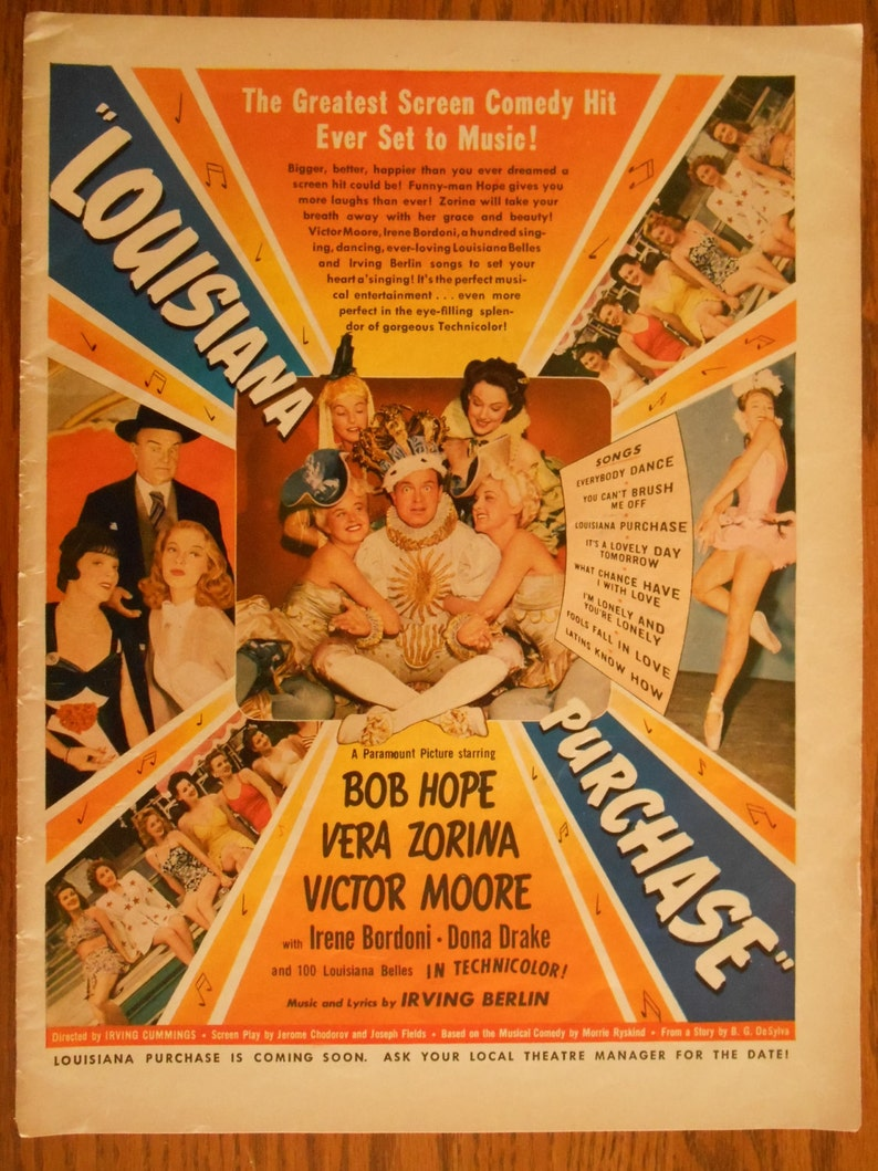 Vintage 1940s Hollywood Movie Advertisement Louisiana Purchase: BOB HOPE to  Frame, Vera Zorina & Victor Moore, Silly Bob Hope Ad, M3