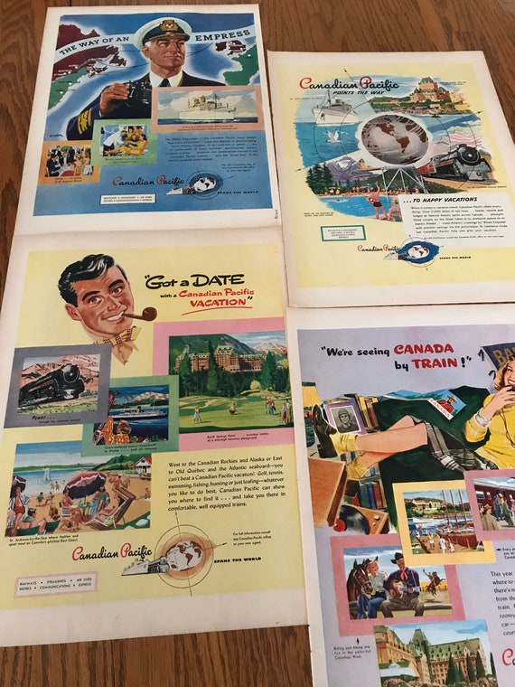 1940/'s Vintage Canadian Travel Ads to Frame from Life Magazines Canadian Pacific Set of 4 Canadian Railway Ads Frame Classic Travel Ads