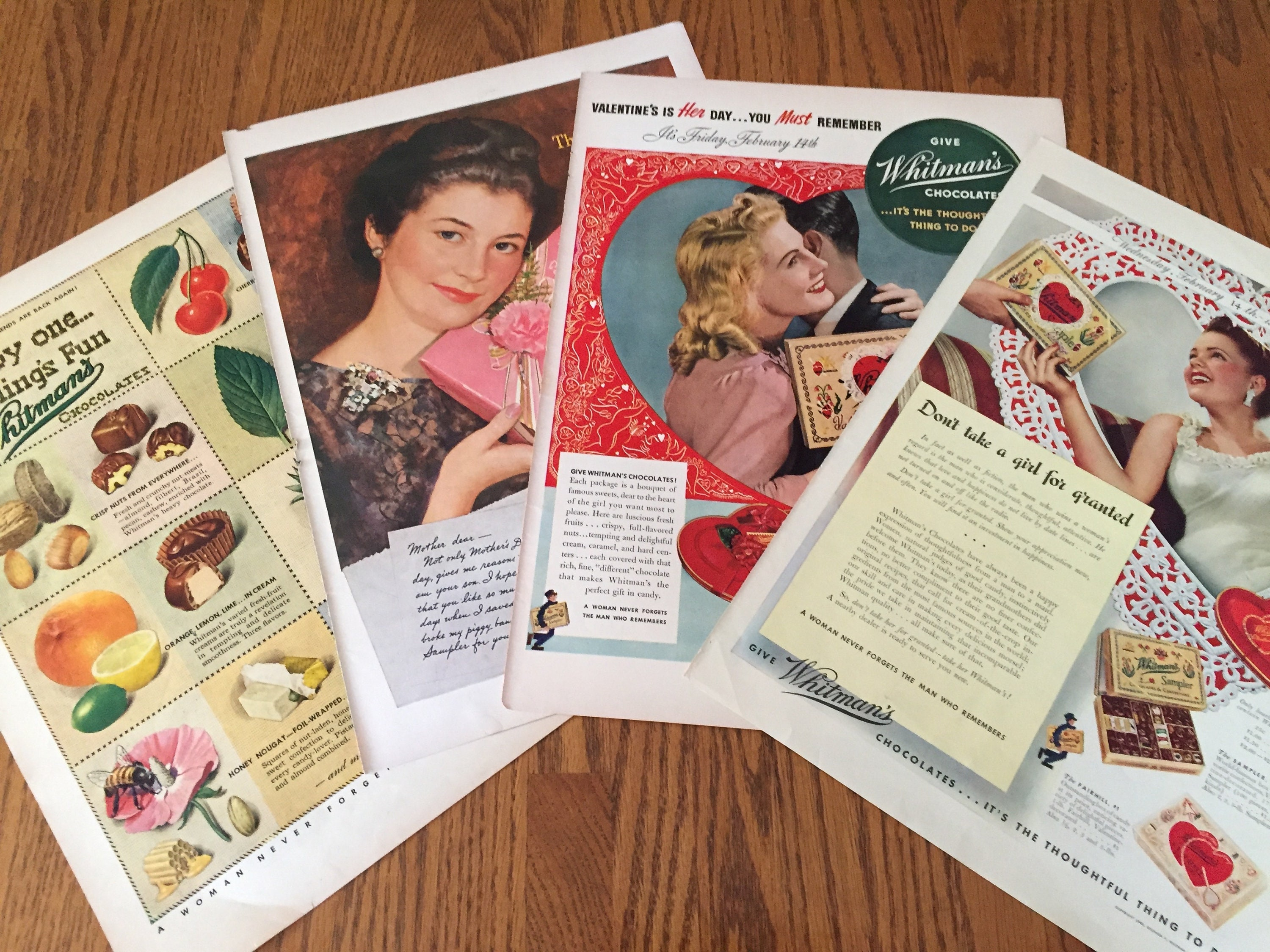 Vintage Whitman's Sampler Ads, 1940's, Four (4) Original Old Ads to Frame  Pop of Color, Vintage Candy Decor, Chocolate Zero Calories, 1940