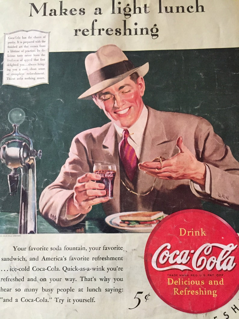 4b4bc2e3f 1940s Coca Cola Ad Business Lunch Vintage Men s fashion