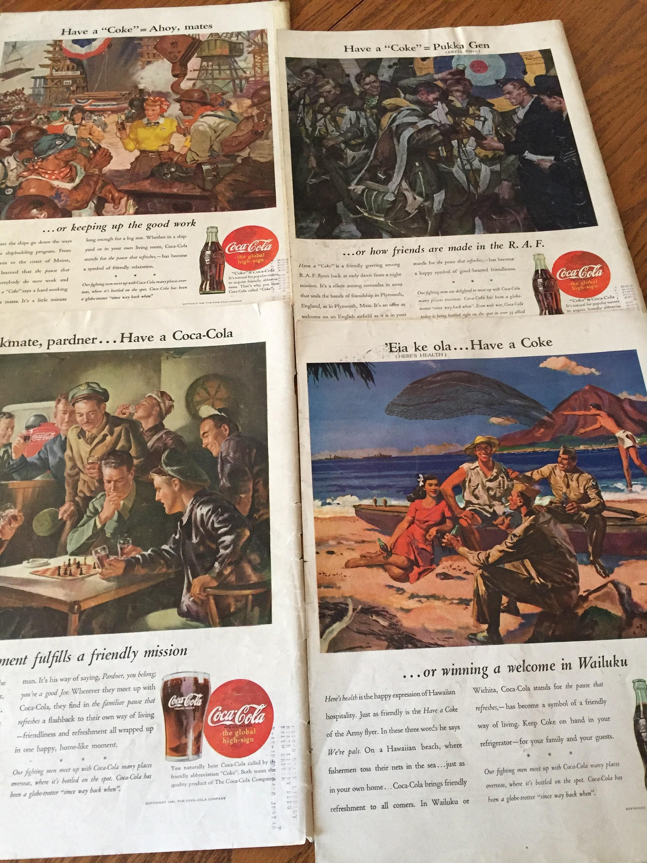 World War Original Coca Cola Ads, America at War 40's Coke Ads, Classic  Coke Ads, Set of 4 Coke Ads Featuring Servicemen, Coca Cola at War