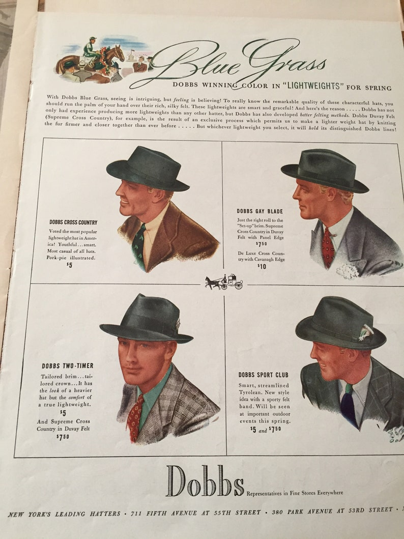 0c35183a0e068 Vintage Hat Styles 40 s Original Magazine Ads to Frame