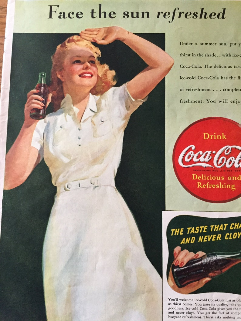 4e11ade37bb14 Vintage 1940s Coca Cola Ad Woman Drinking Coke Wearing a