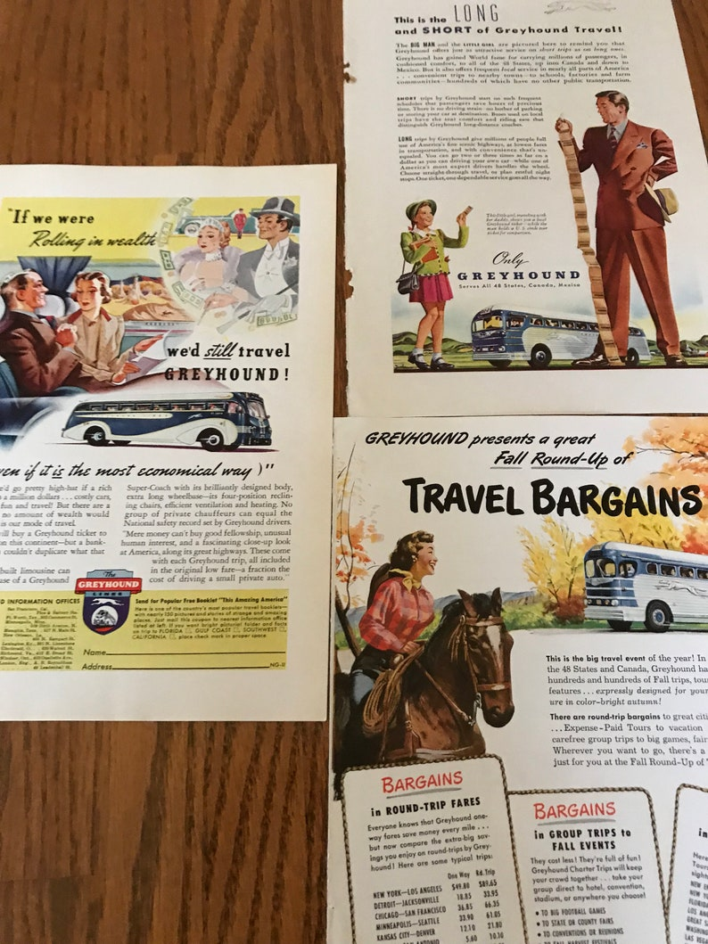 Set of 3 Vintage Greyhound Bus Original Ads National Geographic, Travel by  Bus with 1950 Prices, Seeing USA Mid Century, Retro Bus Travel