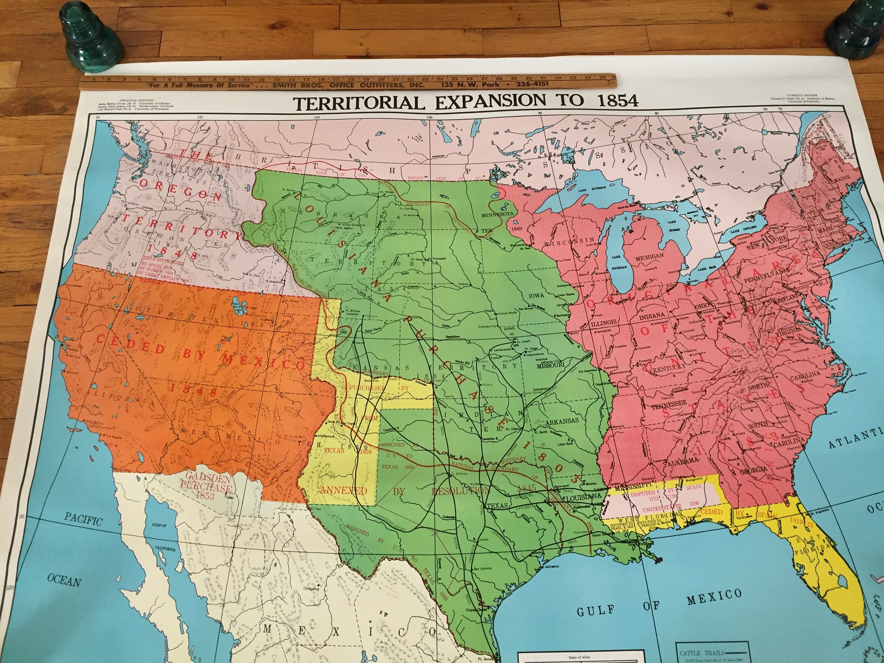 Large Old School Map From 1940s Crams United States Etsy - 1854-us-map