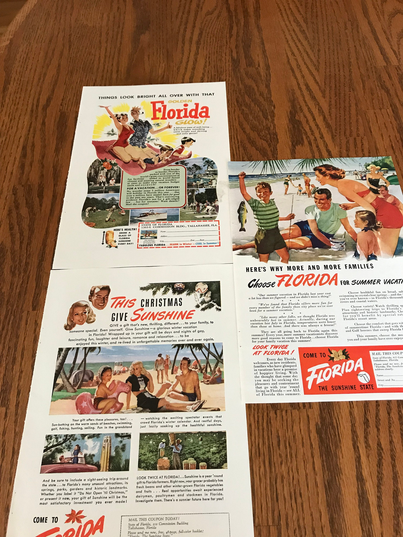 Set of 3 Vintage Travel Florida 40's & 50's Ads, Retro Vacationing in  Florida, Visit Florida, The Sunshine State, Families Enjoying Florida