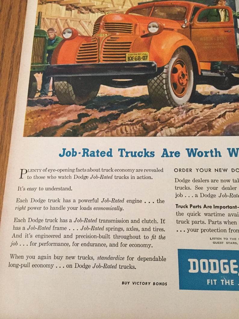 Old Dodge Truck Ad, 1945 Life Magazine Vintage Red Dodge Truck  Advertisement to Frame, Truck Lover Retro Gift, Zero Waste Christmas AT45