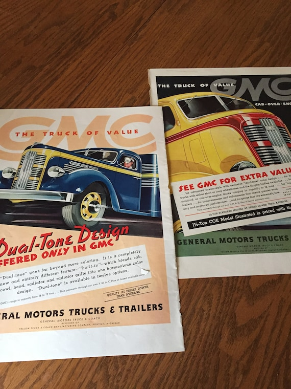 Set Of 2 Two Gmc Truck Ads To Frame 1930s Big Trucks Etsy