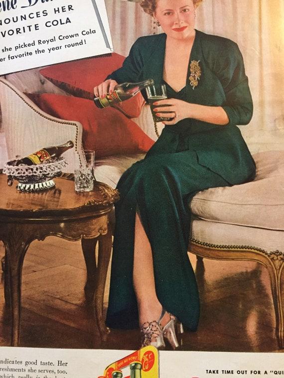 1947 RC ROYAL CROWN COLA FRAMED COLOR AD PRINT BARBARA STANWYCK