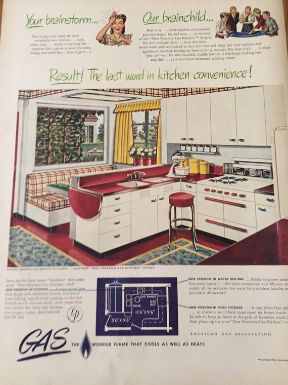Vintage Kitchen Ad, 1940\'s Kitchen Decor & Natural Gas Ad, Blue Print of  40\'s Kitchen, Old Kitchen Layout for 40\'s Home, Red Counter, 11-45