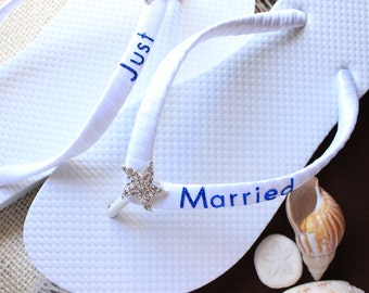 d72c12c0c Starfish white blue Bridal flip flops. Bridal shower gift ideas for brides Just  Married sandals Beach wedding flat shoes slippers