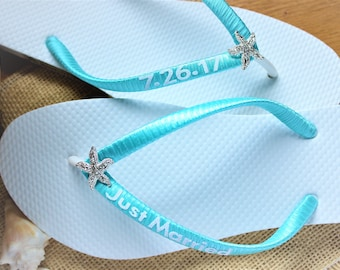 fa7b6276c77f1 Beach wedding shoes Flat bride flip flops