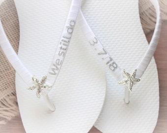 89ec19bcb Personalized Flip Flops Custom Bridal sandals Beach wedding