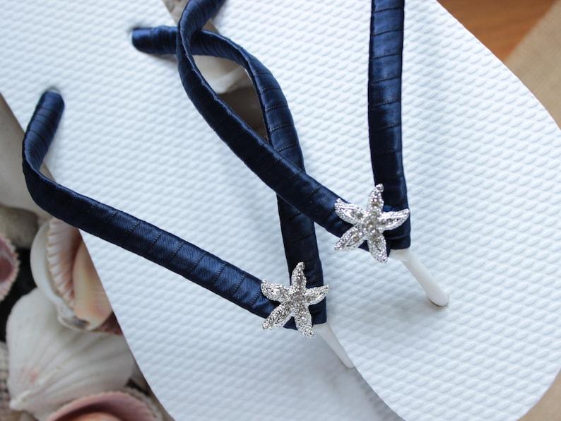 880e7605a95b Dark Navy bridesmaid flip flops. Summer wedding shoes gift for