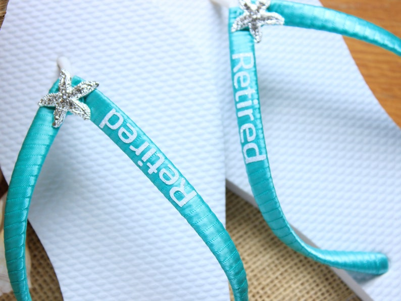 28484f4b6 Aqua Blue Starfish Flip Flops. Personalized Retirement