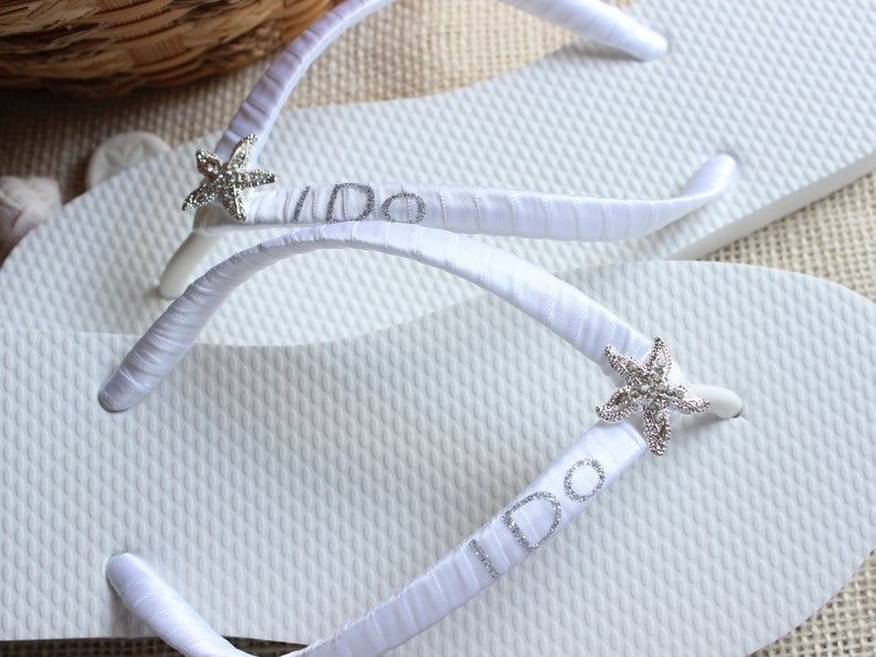 813f5f6e7 I Do bride flip flops favor White sandals Starfish decor