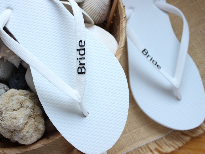 46b42029b8cc Bridal Flip Flops Engagement gift from the groom wedding