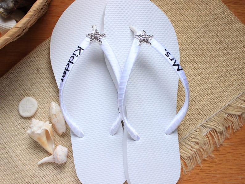 Black and White wedding slippers White Bridal sandals Bride Bridal gift FLIP FLOPS for the Bride Wedding shower Beach wedding shoes