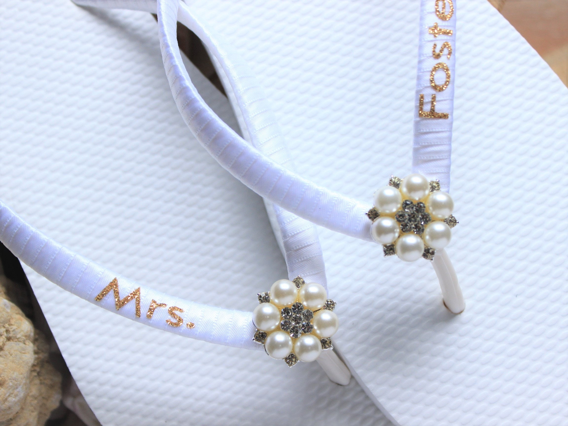 327faebb0896c9 Personalized Bridal Flip Flops Pearl Bridal shoes Bridal