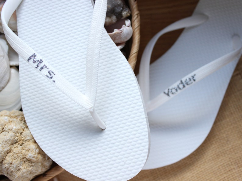 dbb6fe53337a8 Personalized Flip Flops Custom Bridal sandals Beach wedding