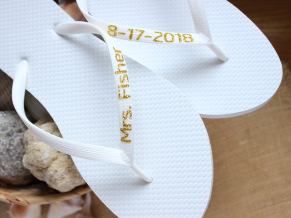 c19c96ae9934e8 Custom flip Flops Personalized Name bridal sandals Beach