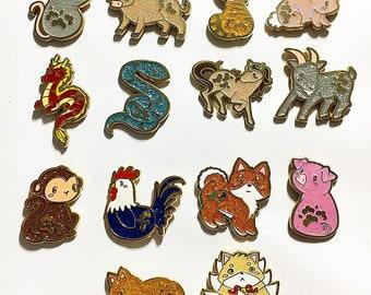 Gold Plated Chinese Zodiac Enamel Pin | Etsy