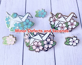 SALE Minor Defects and Seconds Paper Crane and Mini Cherry Blossom Hard Enamel Pin